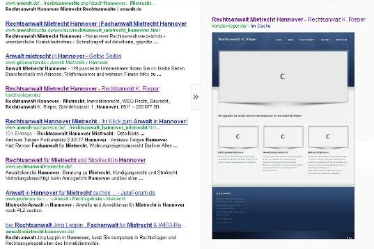 Abbildung einer Internetseite mit einer zu langen Ladezeit, die der Google Crawler wieder verlassen hatte bevor alle Inhalte erfasst werden konnten.