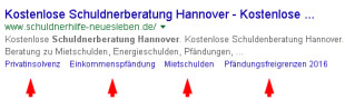 Abbildung eines Google Suchergebnisses von einer Webseite mit Landingpage Optimierung