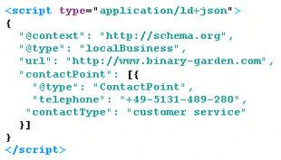 Bild von Quellcode der zwecks Suchmaschinenoptimierung mit strukturierten Daten versehen wurde